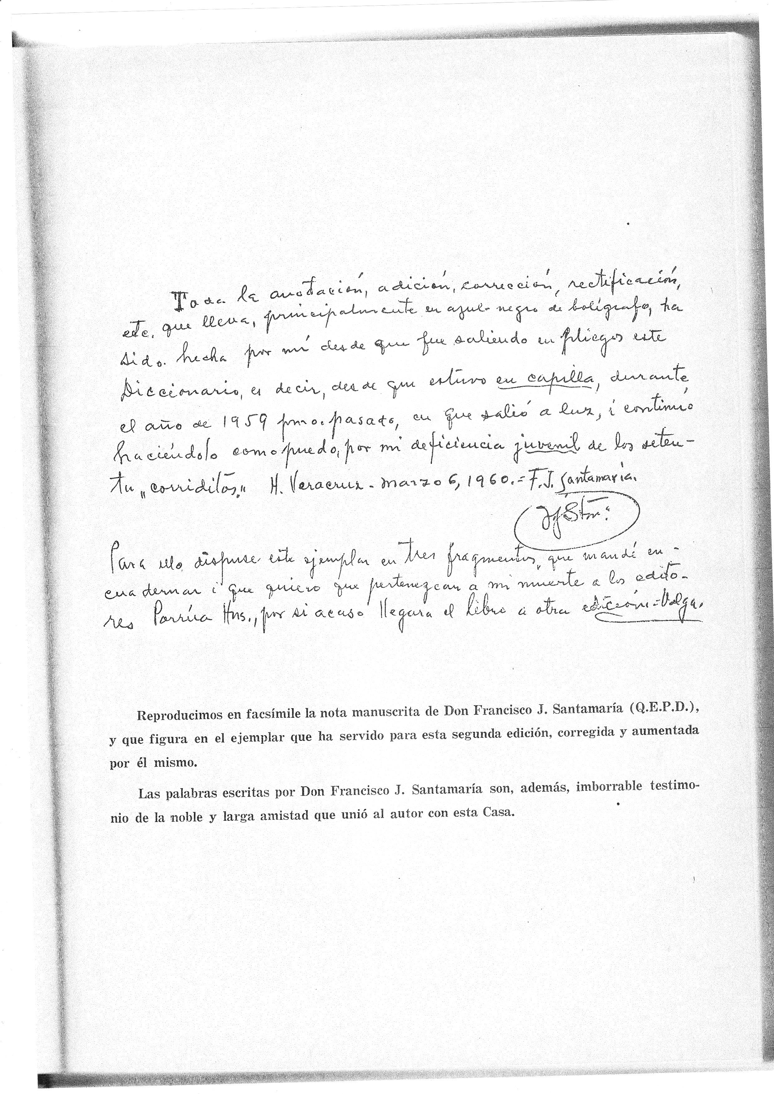 lettre autographe de Santamaria servant de préface à notre édition