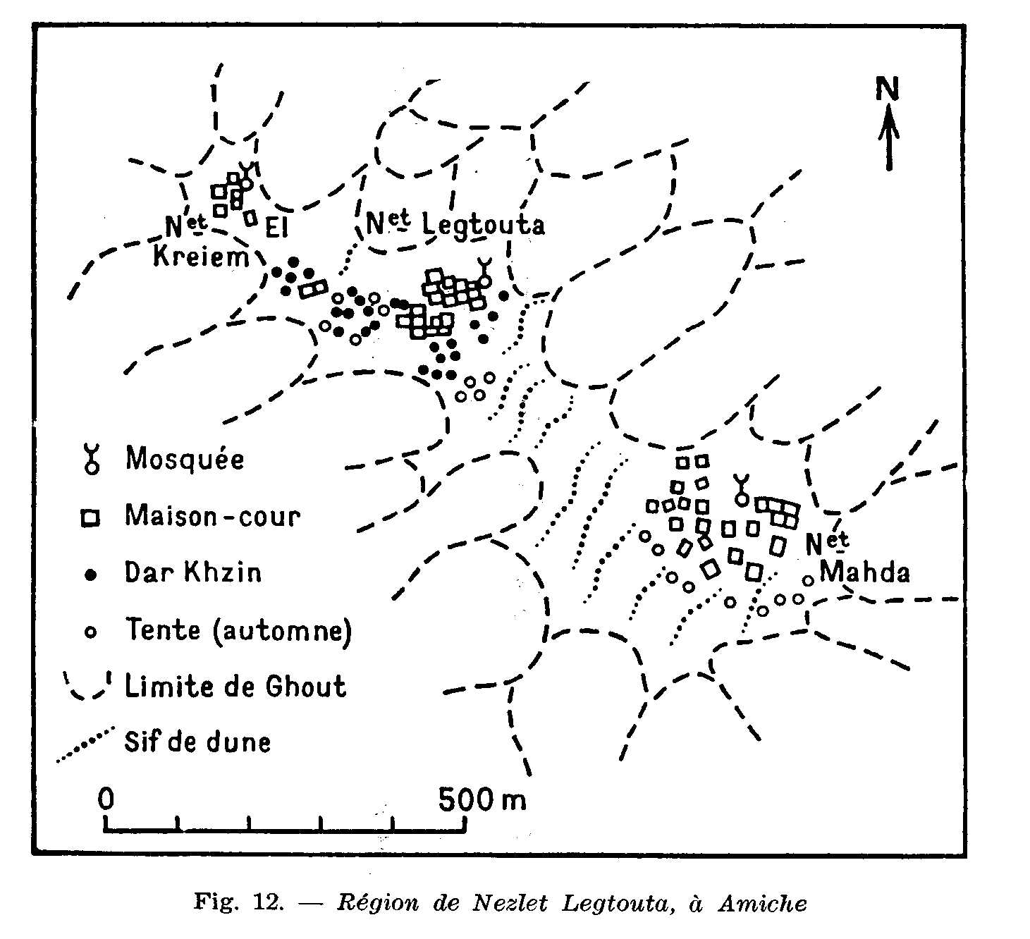 Au sud d'El Oued, à Amiche, l'implantation des maisons des semi-nomades en 1953