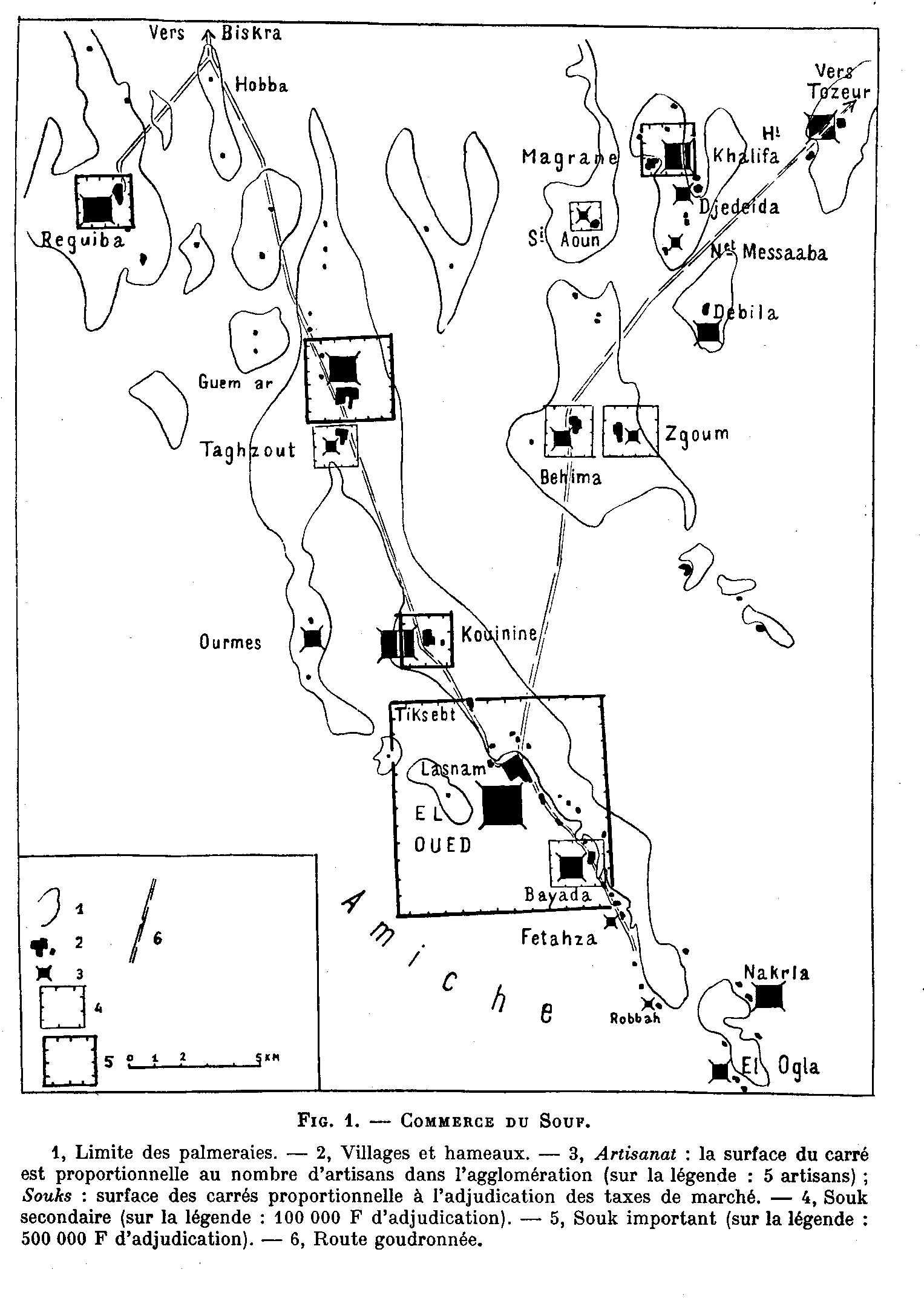 réseaux commerciaux au Souf en 1960