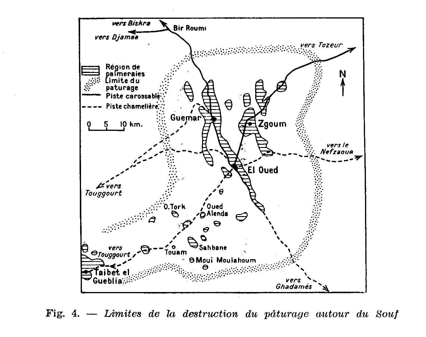 même source, carte de délimitation des oasis du Souf