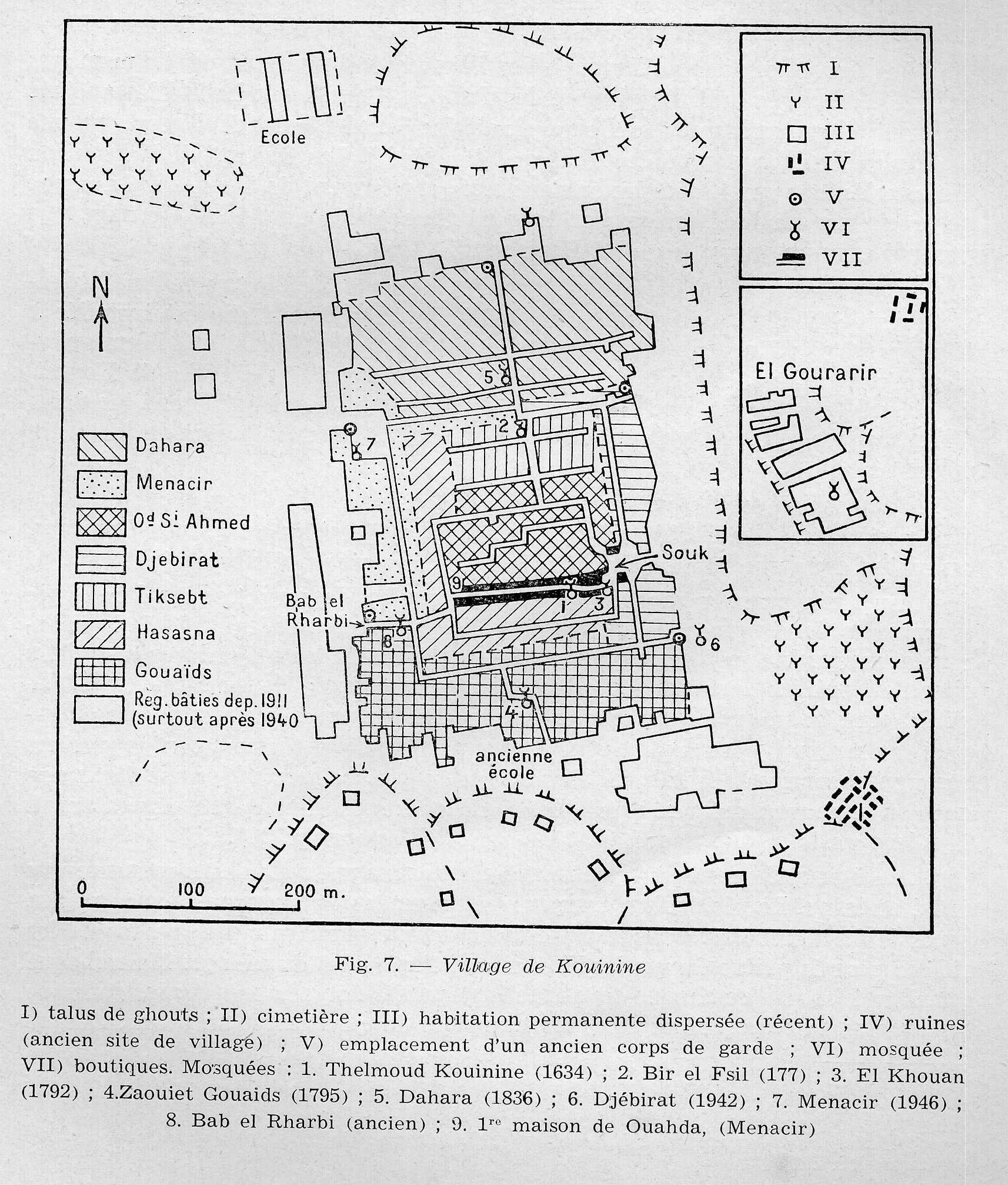 plan de Kouinine, un village en 1953