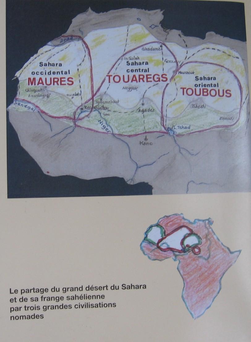 dans le livre de Michel Vallet, ci-dessous,mise en place des grands groupes nomades