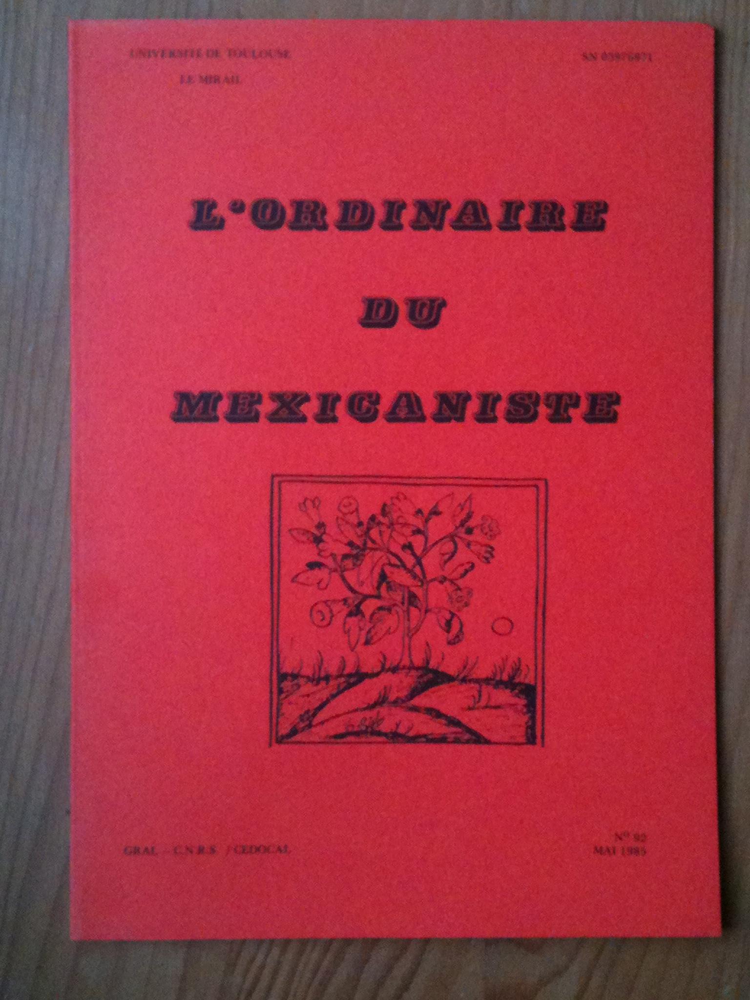 """couverture de l'Ordinaire du Mexicaniste après """"importation"""" à Toulouse"""