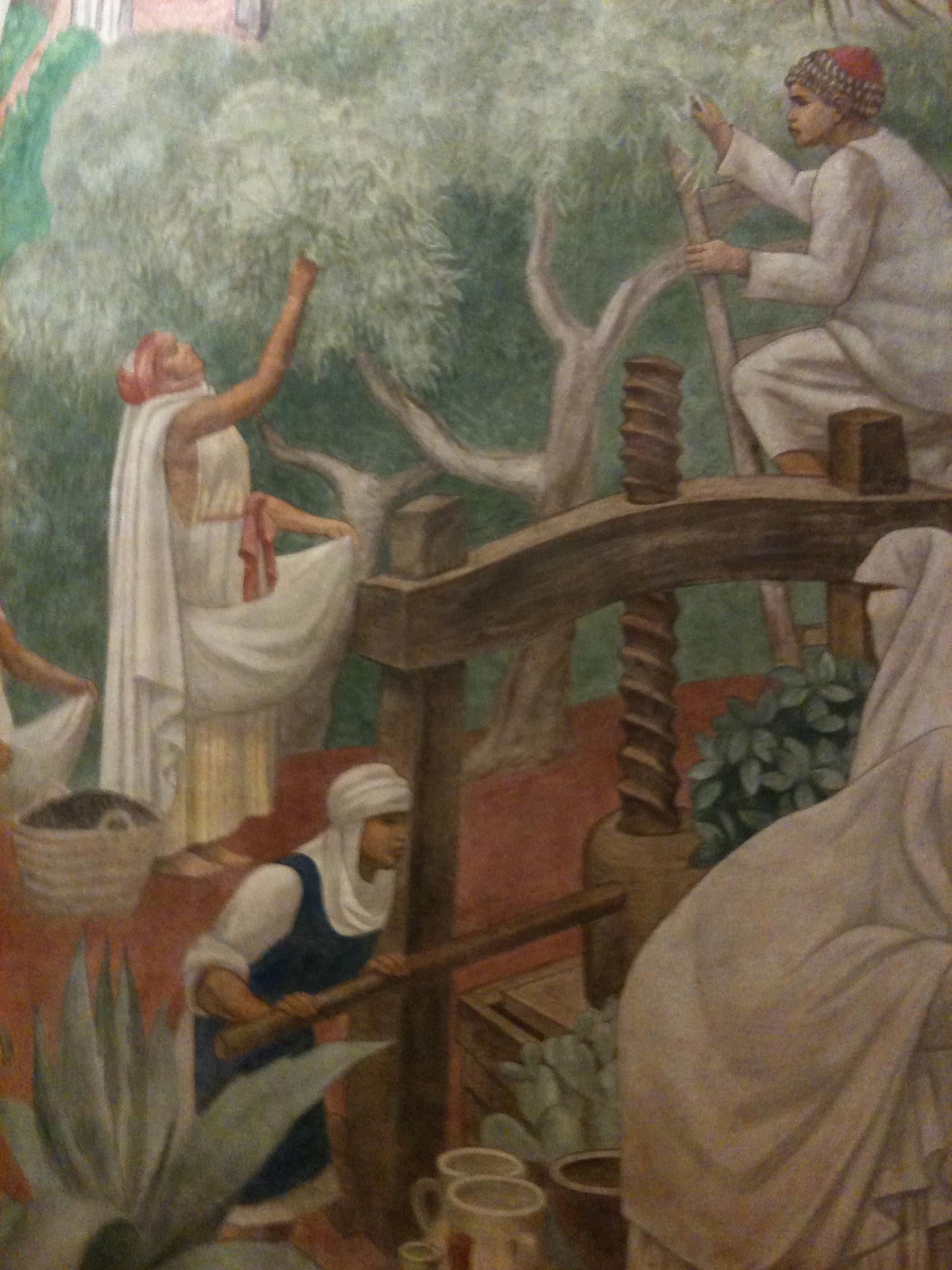 détail de la grande fresque, au Maghreb, la cueillette des olives